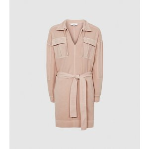 Reiss Lila - Twin Pocket Jersey Dress In Pink, Womens, Size 4 Reiss29849766004, Pink