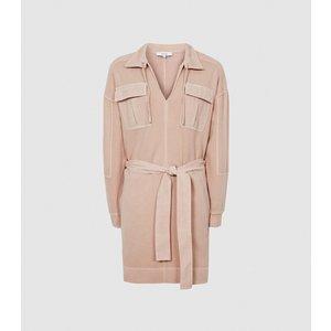 Reiss Lila - Twin Pocket Jersey Dress In Pink, Womens, Size 14 Reiss29849766014, Pink