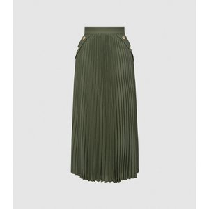 Reiss Lina - Pleated Midi Skirt In Green, Womens, Size 16 Reiss28808250016, Green
