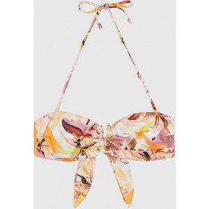 Reiss Lola - Printed Bandeau Bikini Top In Multi, Womens, Size 10 Reiss97704298010, Multi