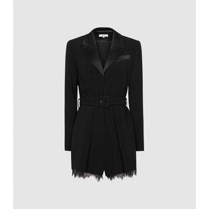 Reiss Lorelli - Lace Trim Playsuit In Black, Womens, Size 8 Reiss33703920008, Black