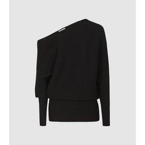Reiss Lorna - Asymmetric Knitted Top In Black, Womens, Size Xl Reiss55716420004, Black