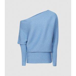 Reiss Lorna - Asymmetric Knitted Top In Blue, Womens, Size L Reiss55709745003, Blue