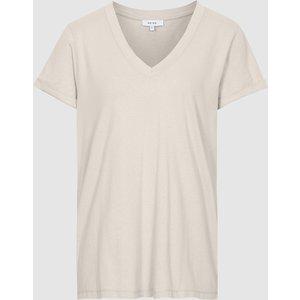 Reiss Luana - Cotton-jersey V-neck T-shirt In Oatmeal, Womens, Size L Reiss45818811003, Oatmeal