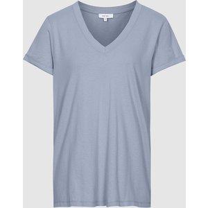 Reiss Luana - Cotton-jersey V-neck T-shirt In Silver Blue, Womens, Size Xs Reiss45818823000, Silver Blue
