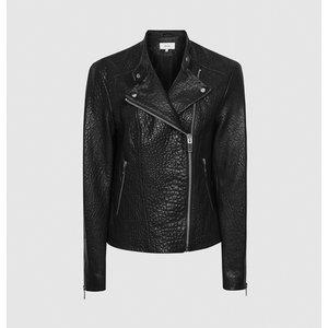 Reiss Luella - Textured Leather Biker Jacket In Black, Womens, Size 14 Reiss17804020014, Black