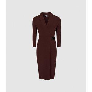 Reiss Luisa - Knitted Wrap Dress In Berry, Womens, Size Xl Dark Red Reiss29732966004, Dark Red
