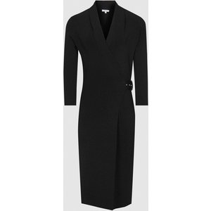 Reiss Luisa - Knitted Wrap Dress In Black, Womens, Size Xl Reiss29732920004, Black