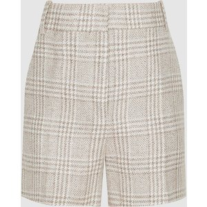 Reiss Lula - Checked Linen-blend Shorts In Multi, Womens, Size 12 White And Grey Reiss19601098012, White and Grey