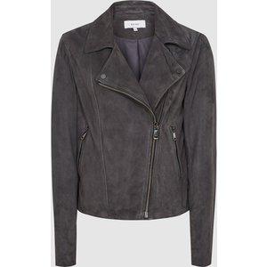 Reiss Luna - Suede Biker Jacket In Charcoal, Womens, Size 8 Reiss17702640008, Charcoal