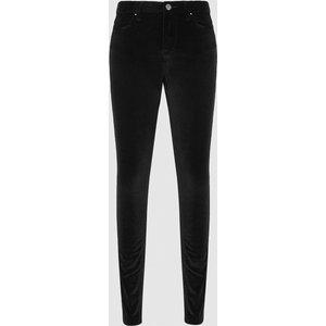 Reiss Lux Velvet - Velvet Mid Rise Skinny Trousers In Black, Womens, Size 27 Reiss20701220027, Black
