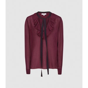 Reiss Mackenzie - Textured Blouse With Bow Detail In Berry, Womens, Size 10 Reiss46716366010, Berry