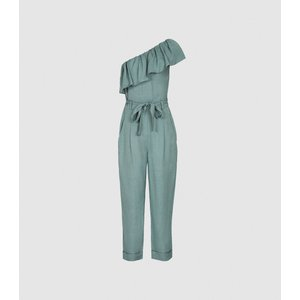 Reiss Madeline - One Shoulder Jumpsuit In Green, Womens, Size 14 Reiss33605150014, Green