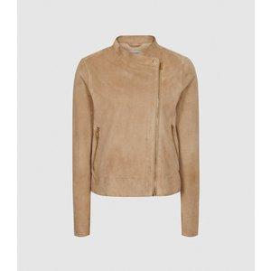 Reiss Madeline - Suede Biker Jacket In Neutral, Womens, Size 14 Brown Reiss17804403014, Brown