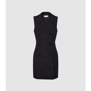 Reiss Maevie - Sleeveless Tuxedo Mini Dress In Black, Womens, Size 18 Reiss29733520018, Black