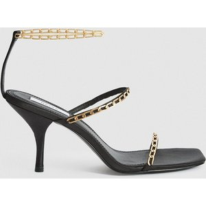 Reiss Magda Chain - Satin Strappy Heeled Sandals In Black, Womens, Size 7 Reiss85709820040, Black