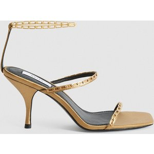 Reiss Magda Chain - Satin Strappy Heeled Sandals In Caramel, Womens, Size 6 Reiss85709812039, Caramel