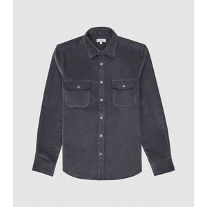 Reiss Maldini - Corduroy Overshirt In Airforce Blue, Mens, Size L Reiss32802433003, Airforce Blue