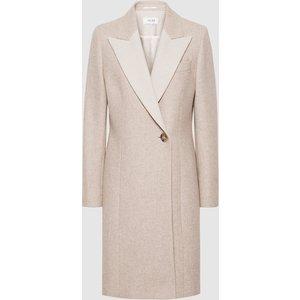 Reiss Mandie - Contrast Collar Overcoat In Neutral, Womens, Size 4 Reiss65806003004, Neutral