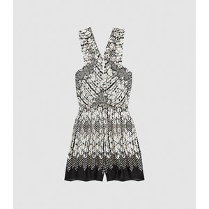 Reiss Margot - Printed Halterneck Playsuit In Black, Womens, Size 4 Black And White Reiss33604720004, Black and White
