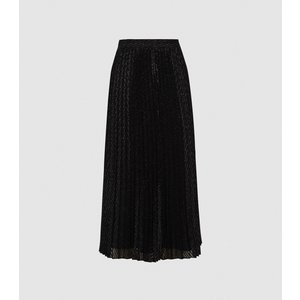Reiss Marianne - Mesh Pleated Midi Skirt In Black, Womens, Size 10 Reiss28714520010, Black