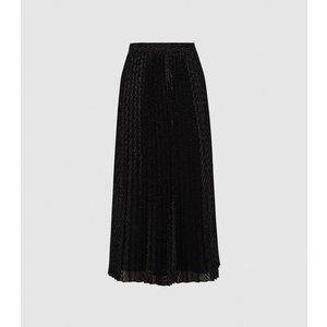 Reiss Marianne - Mesh Pleated Midi Skirt In Black, Womens, Size 16 Reiss28714520016, Black