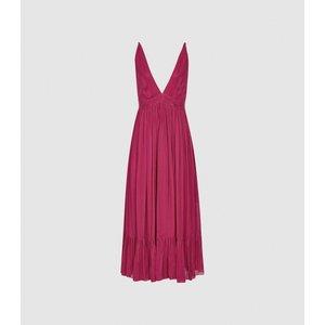 Reiss Marie - Striped Midi Dress In Pink, Womens, Size 12 Reiss29846866012, Pink