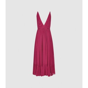 Reiss Marie - Striped Midi Dress In Pink, Womens, Size 8 Reiss29846866008, Pink
