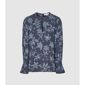 Reiss Marina - Printed Blouse With Embellishment Detail In Blue, Womens, Size 18 Reiss46716545018, Blue