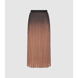 Reiss Marlene - Ombre Pleated Midi Skirt In Black/pink, Womens, Size 18 Reiss28712920018, Black/pink