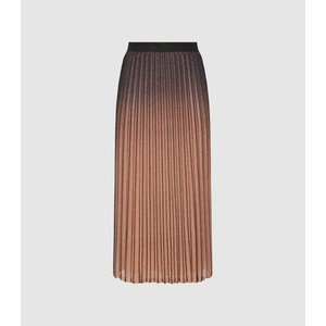 Reiss Marlene - Ombre Pleated Midi Skirt In Black/pink, Womens, Size 12 Black And Pink Reiss28712920012, Black and Pink