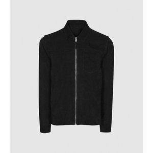 Reiss Marlo - Suede Zip Through Jacket In Black, Mens, Size Xxl Reiss13701820005, Black