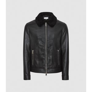 Reiss Matt - Leather Jacket With Shearling Collar In Black, Mens, Size M Reiss13703520002, Black
