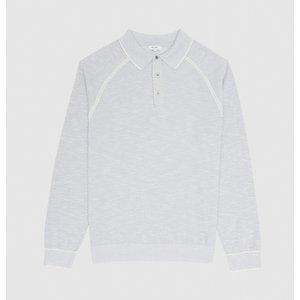 Reiss Max - Tipped Melange Polo Shirt In Indigo, Mens, Size L Reiss51817745003, Indigo