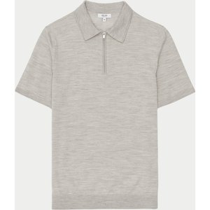 Reiss Maxwell - Merino Wool Zip Neck Polo In Putty Mouline, Mens, Size L Brown And Grey Reiss51707703003, Brown and Grey