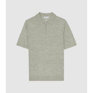 Reiss Maxwell - Merino Wool Zip Neck Polo In Sage Melange, Mens, Size L Reiss51816753003, Sage Melange