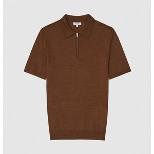 Reiss Maxwell - Merino Wool Zip Neck Polo In Tobacco, Mens, Size M Reiss51721314002, Tobacco