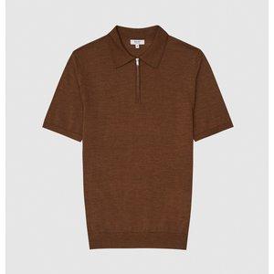 Reiss Maxwell - Merino Wool Zip Neck Polo In Tobacco, Mens, Size L Reiss51721314003, Tobacco