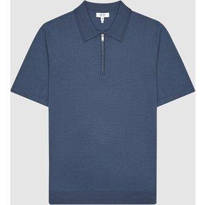 Reiss Maxwell - Merino Zip Neck Polo In Steel Blue, Mens, Size M Reiss51916021002, Steel Blue