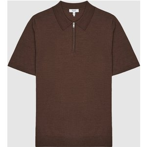 Reiss Maxwell - Merino Zip Neck Polo In Toffee Brown, Mens, Size L Reiss51916014003, Toffee Brown