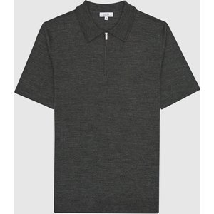Reiss Maxwell - Merino Zip Neck Polo Shirt In Forest Green Mouline, Mens, Size Xl Reiss51707750004, Green