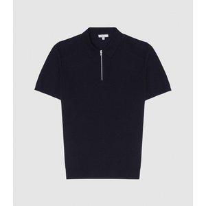 Reiss Mellor - Textured Zip Neck Polo Shirt In Navy, Mens, Size Xl Navy Blue Reiss51708530004, Navy Blue