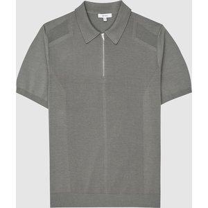Reiss Mellor - Textured Zip Neck Polo Shirt In Sage, Mens, Size Xl Green Reiss51708553004, Green