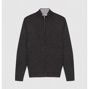 Reiss Merchant - Wool Zip Through Jumper In Charcoal Melange, Mens, Size Xxl Dark Grey Reiss51707440005, Dark Grey