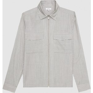 Reiss Metro - Merino Wool Zip Through Shirt In Navy/white, Mens, Size S Reiss32807330001, Navy/White