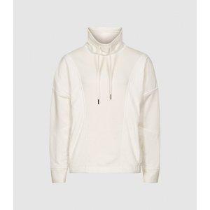 Reiss Mia - Fabric Mix Funnel Neck Sweatshirt In White, Womens, Size Xs Reiss86800100000, White