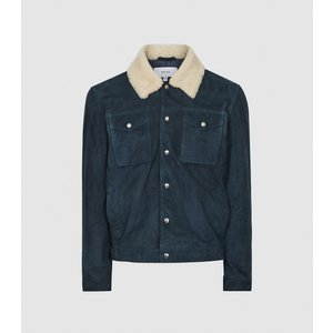 Reiss Miles - Suede Jacket With Shearling Collar In Teal, Mens, Size S Blue And White Reiss13701134001, Blue and White