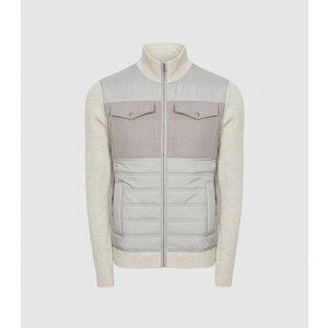 Reiss Miller - Hybrid Zip Through Quilted Jacket In Soft Grey, Mens, Size Xs Reiss51814243000, Soft Grey