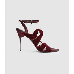 Reiss Monroe - Velvet Pin-heel Sandals In Plum, Womens, Size 7 Reiss85709461040, Plum