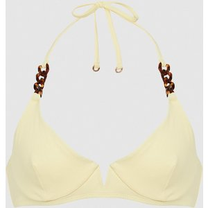 Reiss Myra - Underwired Halterneck Bikini Top In Yellow, Womens, Size 12 Reiss97803474012, Yellow